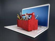 Rode toolbox die zich op laptop computer bevinden Stock Afbeelding