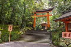 Rode torussen in het heiligdom van de V.S. Jingu, Oita, Japan stock afbeelding