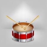 Rode trommel en houten trommelstokken Vector stock illustratie