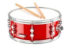 Rode trommel met trommelstokken, het 3D teruggeven royalty-vrije illustratie