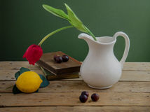 Rode tulp en boeken stock foto