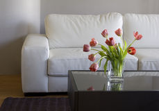 Rode tulpen in moderne woonkamer - huisdecor Royalty-vrije Stock Foto's