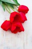 Rode Tulpen op houten achtergrond Royalty-vrije Stock Foto