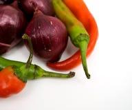 Rode ui, Spaanse peperspeper en snijbonen, het sluiten Stock Fotografie