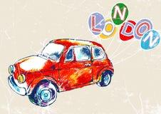 Rode uitstekende auto met ballons en de tekst Londen Vector illustratie Stock Illustratie