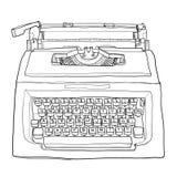 Rode uitstekende de kunst van de schrijfmachine leuke lijn het schilderen illustratie Royalty-vrije Stock Afbeeldingen