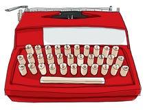 Rode Uitstekende Industriële Schrijfmachine Stock Foto