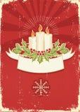 Rode uitstekende Kerstkaart voor tekst Royalty-vrije Stock Afbeelding