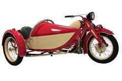 Rode uitstekende motorfiets met sidecar stock foto's
