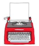 Rode uitstekende schrijfmachine met document leuke het schilderen illustratio Stock Foto