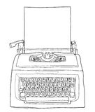 Rode uitstekende schrijfmachine met document leuke lijnkunst die illust schilderen Stock Afbeelding