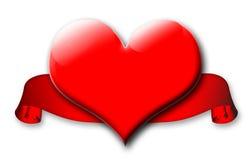 Rode valentijnskaarthart en banner royalty-vrije illustratie
