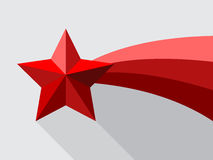 Rode vallende ster met swoosh Royalty-vrije Stock Foto