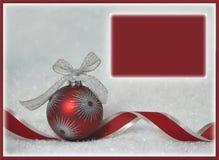 Rode van achtergrond ornamentkerstmis groetkaart Royalty-vrije Stock Afbeeldingen