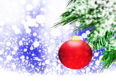 Rode van de Achtergrond Kerstmisbal blauwe sneeuwcirkels Royalty-vrije Stock Fotografie