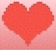 Rode van het de Figuurzaaghart van het Stukraadsel Liefde Als achtergrond royalty-vrije illustratie