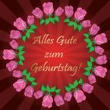 Rode vectorachtergrond met rozen en stralen - Alles gute zum Gebur Royalty-vrije Stock Foto's