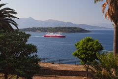 Rode veerboot Stock Afbeelding