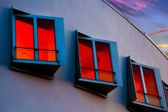 Rode vensters Stock Afbeeldingen