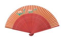 Rode ventilator met bloempatroon Royalty-vrije Stock Afbeeldingen