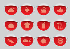 Rode Verbinding met F&B-Pictogrammen Vectorillustratie Royalty-vrije Stock Afbeelding