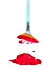 Rode verf met borstel Stock Afbeeldingen