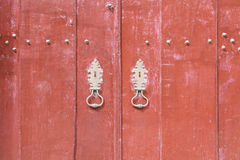 Rode verfraaide deur Royalty-vrije Stock Afbeelding