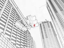 Rode verkeers lichte tekening Stock Afbeeldingen