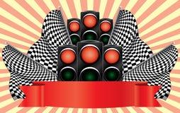 Rode verkeerslichten op afwerking. Royalty-vrije Stock Foto