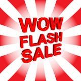 Rode verkoopaffiche met WAUW de tekst van de FLITSverkoop Adverterende banner Royalty-vrije Stock Afbeelding