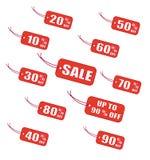 Rode verkoopetiketten Royalty-vrije Stock Afbeeldingen
