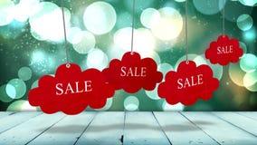 Rode verkoopmarkeringen die tegen gloeiende achtergrond hangen vector illustratie