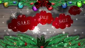Rode verkoopmarkeringen die tegen hout met feestelijke decoratie hangen royalty-vrije illustratie