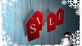 Rode verkoopmarkeringen die tegen hout met feestelijke grens hangen royalty-vrije illustratie