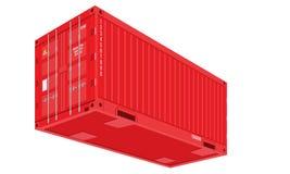 Rode Verschepende Ladingscontainer voor Logistiek en Vervoer Perspectief en bodemmening Vlakke vectorillustratie stock illustratie