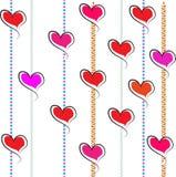 Rode verticale de lijnen witte Achtergrond van Valentine Hearts Pink Stock Fotografie
