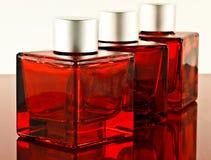Rode vierkante flessen Stock Afbeelding