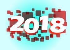 2018 rode vierkantenbanner Stock Foto