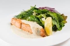 Rode vissen met gebakken groenten Stock Foto