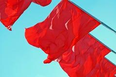 Rode vlaggen Stock Foto