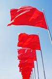 Rode vlaggen, gele sterren Stock Afbeeldingen