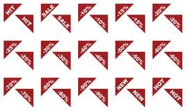 Rode vlak geïsoleerde hoeketiketten voor verkoop stock illustratie