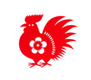 Rode vlakke papier-besnoeiing op wit als symbool van Chinees Nieuwjaar van Haan Stock Foto