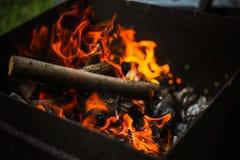 Rode vlam van een besnoeiing van een boom, donkergrijze steenkolen binnen een metaalkoperslager Brandhout het branden in een kope stock foto
