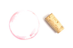 Rode vlek van wijn met cork Stock Foto