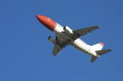 Rode vliegtuigStart royalty-vrije stock afbeeldingen