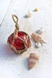 Rode vlotter met shells stock afbeeldingen