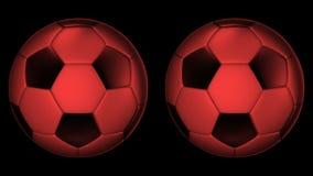 Rode Voetbalballen die op de assen 360 graad roteren stock videobeelden