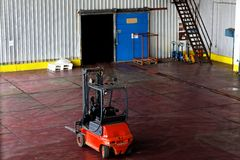 Rode vorkheftruck Stock Foto