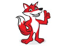 Rode Vosmascotte en karikatuur vector illustratie